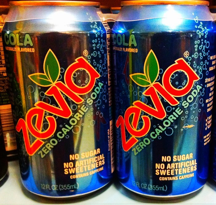 Cans of Zevia cola