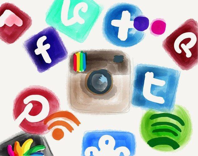 Desing consisting of painted ocial media platform logos