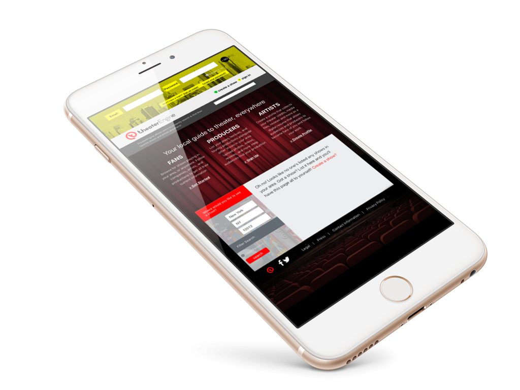 Theater Engine Mobile Website Design